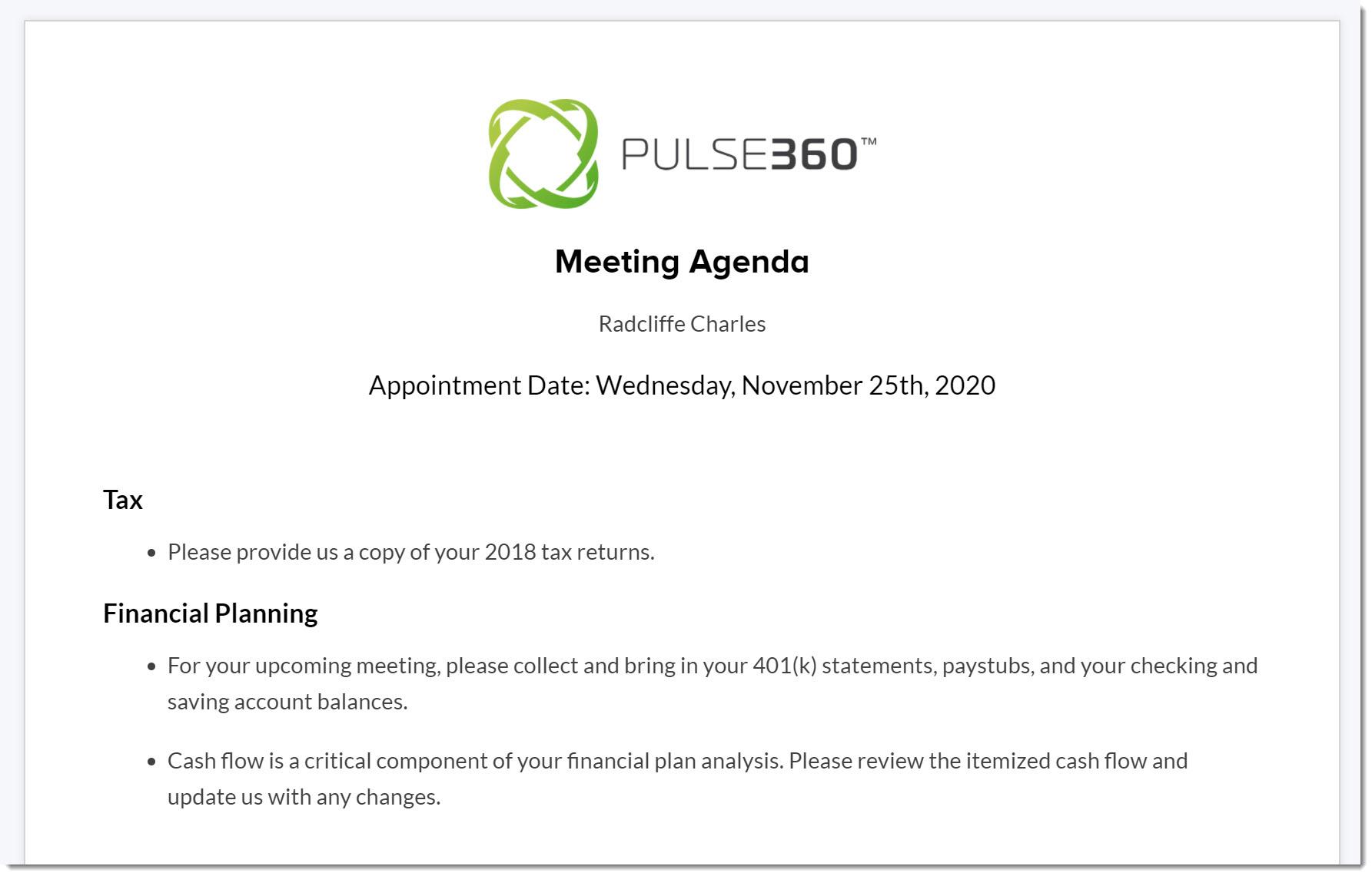 Formal Agends prepared in seconds in Pulse360